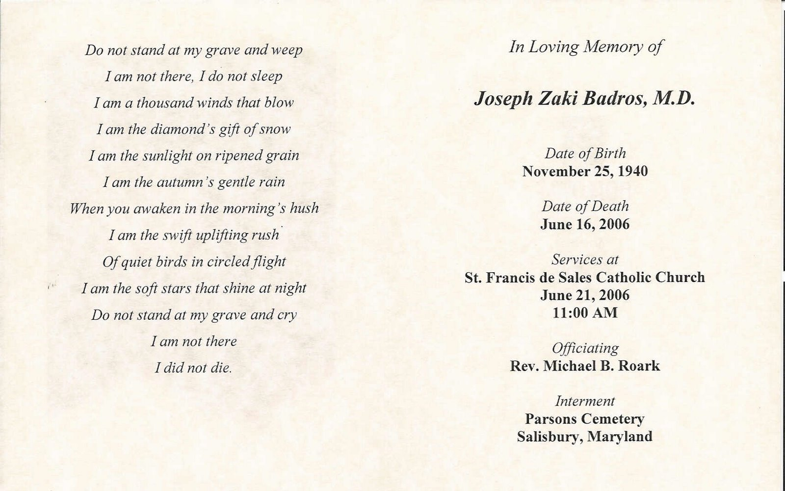 ... de Sales Church Program Service Book Gregory's Eulogy Mark's Eulogy: www.badros.com/joseph-zaki/funeral.html